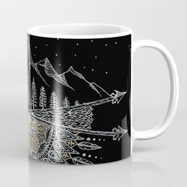 Moon and Stars Night Sky Mountain Range Arrow Mandala With Star Background Coffee Mug