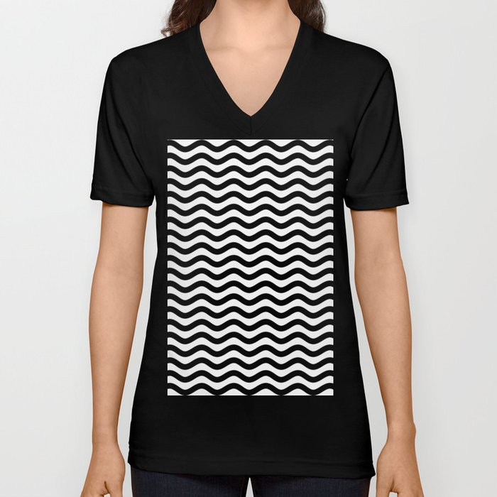 Waves (Black & White Pattern) Unisex V-Neck