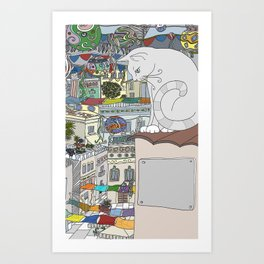 cat & party night Art Print