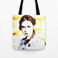 amy pond Tote Bags featuring Karen Gillan (Amy Pond) by TheJollyRambler