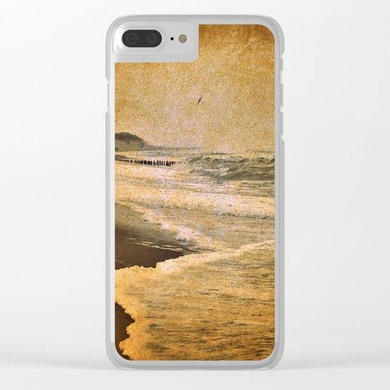 vintage beach sea Clear iPhone Case