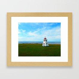 Tiny Lighthouse and Giant Bridge Framed Art Print