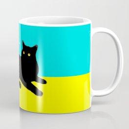 Black Cat on Yellow and Sky Blue Coffee Mug