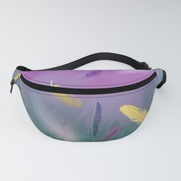 Dancing Feathers - Pink and bottle green shades with gold details Fanny Pack