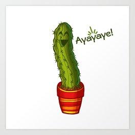 Ayayaye Cactus Pickle Art Print