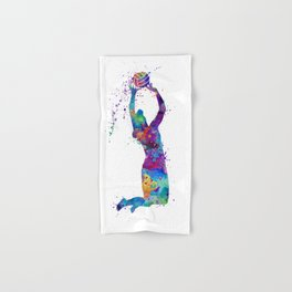 Volleyball Girl Setter Colorful Watercolor Art Hand & Bath Towel