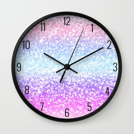 Faux Glitter Pastel Rainbow Gradient  Wall Clock