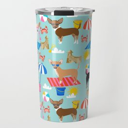 Miniature Doberman Pinscher dog beach day summer fun dog lover min pin Travel Mug