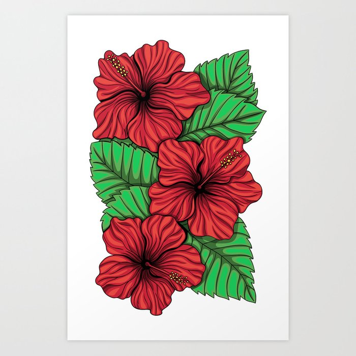 Bouquet of hibiscus flower and tropical leaves Art Print by ...