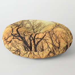 Orange cloudy sky over scary naked trees Floor Pillow