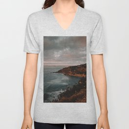 California Coastline Sunset II Unisex V-Neck