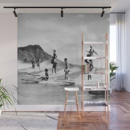 Vintage Hawaii Tandem Surfing Wall Mural