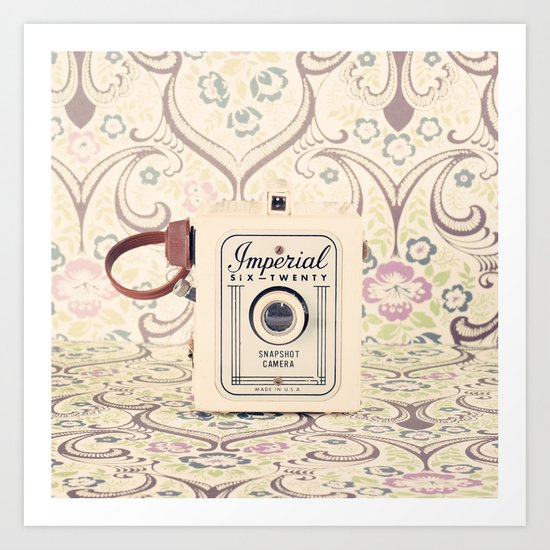 Retro Beige Camera on a Violet Paisley Background  Art Print