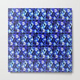 Cryptocurrency blue pattern Metal Print
