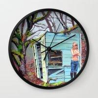 nudes Wall Clocks featuring Lewiston Biltmore by Kim Leutwyler