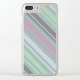Teal Zigzag Line Pattern Clear iPhone Case