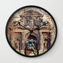 Medici Fountain in Autumn Wall Clock