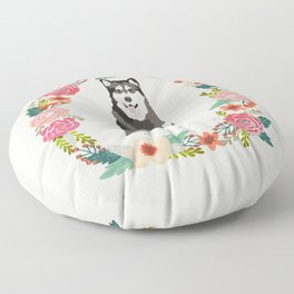 alaskan malamute floral wreath dog gifts pet portraits Floor Pillow