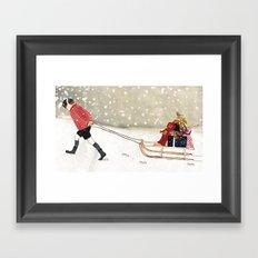 Boy with sledge Framed Art Print