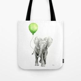 Baby Elephant Watercolor Green Balloon Neutral Color Nursery Decor Tote Bag
