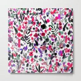 Flowers Nature drawing pink Black Green art Metal Print