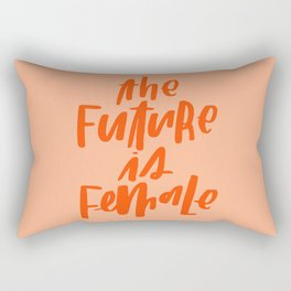 The Future is Female Pink and Orange Rectangular Pillow