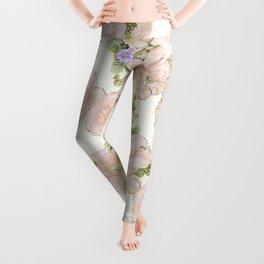 Pink Quince Flower- VIntage Sand Floral Pattern Leggings
