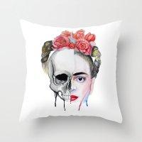 frida kahlo Throw Pillows featuring Frida Kahlo  by Karol Gallegos Carrera