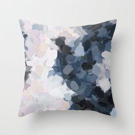 Navy Black Beige Lavender Abstract Art Moonlight Ocean Painting Throw Pillow