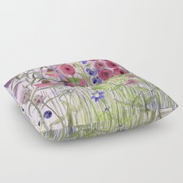 Garden Flowers and Blue Sky Whimsical  Floor Pillow