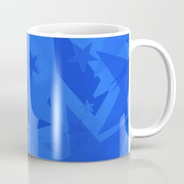 Chaotic blue stars on a sea background in projection and with depth. Coffee Mug