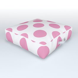 Light Pink Large Polka Dots Pattern Outdoor Floor Cushion