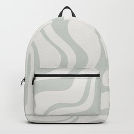 Liquid Swirl Abstract Pattern in Pale Stone and Light Silver Sage Gray Backpack