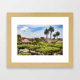 Red Gazebo and Trees Lining the Parque Colon de Granada in Nicaragua Framed Art Print