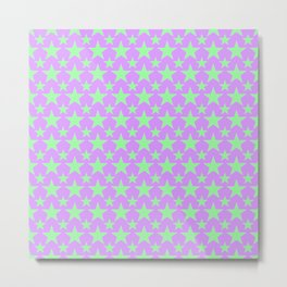 Green Star Pattern on Purple Metal Print