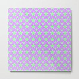 Green Star Pattern on Purple Metal Print