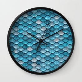Luxury Turquoise Mermaid Sparkling Glitter Scales - Mermaidscales Wall Clock