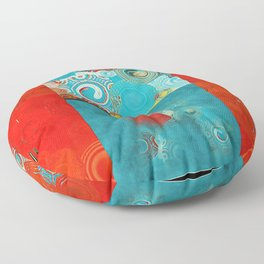 Swirly Red and Turquoise Mosaic Floor Pillow
