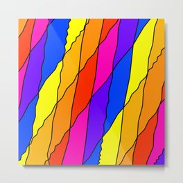 Slanting repetitive lines and rhombuses on bright yellow with intersection of glare. Metal Print