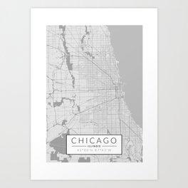 Chicago Map - Black and White (Light) Art Print