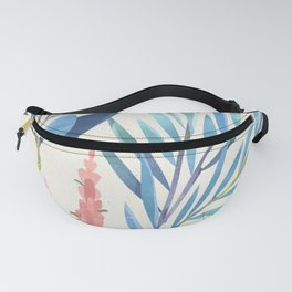 Colorful Mystical Watercolor Floral Plant Pattern Blue Lime Green Pink Flower Fanny Pack