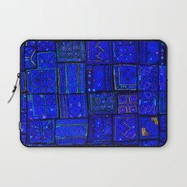 (N17) Calm Indigo Blue Boho Traditional Moroccan Artwork Laptop Sleeve