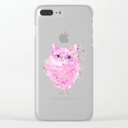 Pink Cotton Candy Cat Clear iPhone Case