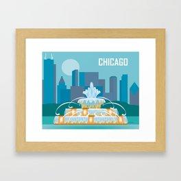 Chicago, Illinois - Skyline Illustration by Loose Petals Framed Art Print