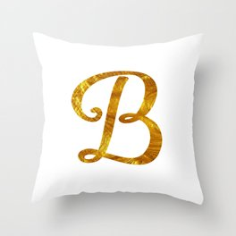 Monogram B - Gold Throw Pillow