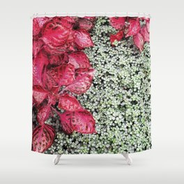 Pink Leaves on Green Carpet Shower Curtain