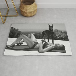 sun rooftop woman and dog Rug