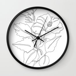 Floral one line drawing - Hibiscus Wall Clock