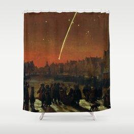Comet above Rotterdam - Lieve Verschuier (1680) Shower Curtain