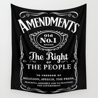 whiskey Wall Tapestries featuring 1st Amendment Whiskey Bottle by Anti Liberal Art